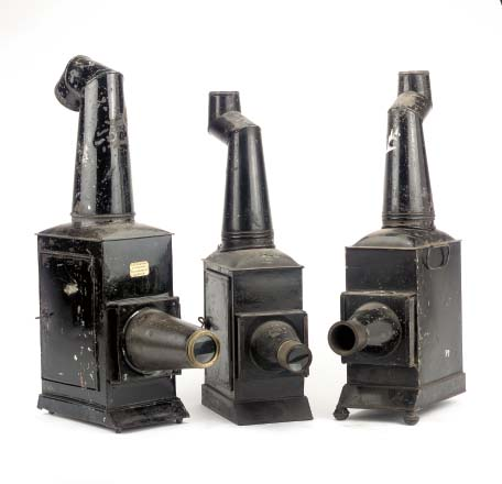 Image of three Phantasmagoria lanterns